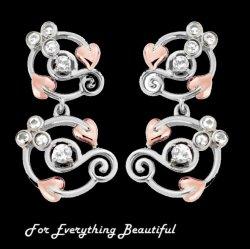 Origin White Topaz Drop Welsh Rose Gold Detail Sterling Silver Earrings