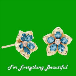 Forget Me Not Flower Topaz Welsh Rose Gold Detail 9K Yellow Gold Earrings