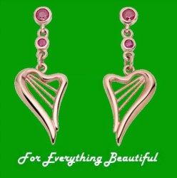 Heartstrings Ruby Drop Welsh Gold 9K Rose Gold Earrings