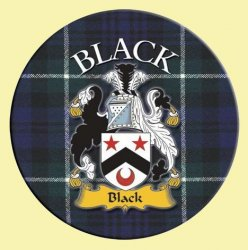 Black Coat of Arms Tartan Cork Round Scottish Name Coasters Set of 4