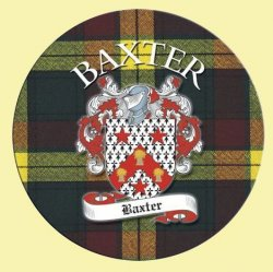 Baxter Coat of Arms Tartan Cork Round Scottish Name Coasters Set of 4