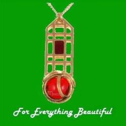 Mackintosh Rose Lattice Ruby Antiqued Gold Plated Pendant