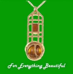 Mackintosh Rose Lattice Topaz Antiqued Gold Plated Pendant