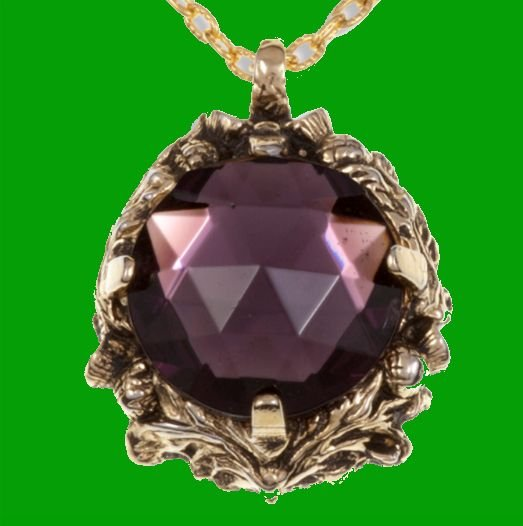 Image 0 of Thistle Antiqued Floral Emblem Purple Glass Stone Gold Plated Pendant