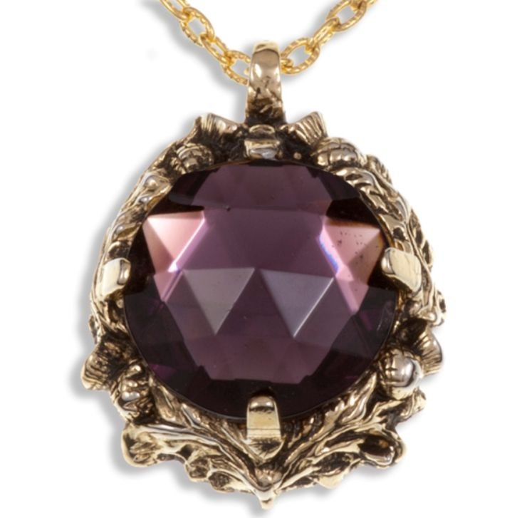 Image 1 of Thistle Antiqued Floral Emblem Purple Glass Stone Gold Plated Pendant