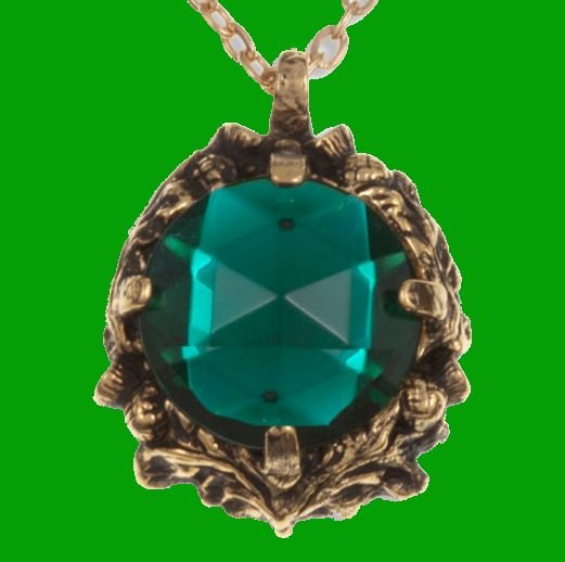Image 0 of Thistle Antiqued Floral Emblem Green Glass Stone Gold Plated Pendant