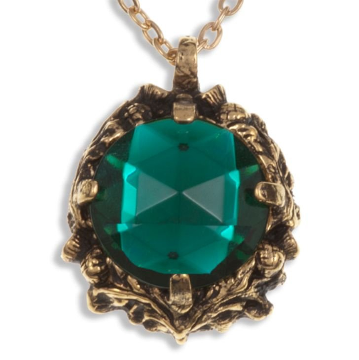 Image 1 of Thistle Antiqued Floral Emblem Green Glass Stone Gold Plated Pendant