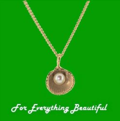 Cockle Shell Freshwater Pearl Snake Chain Small 9K Rose Gold Pendant