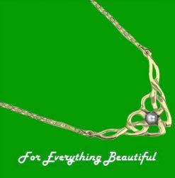 Celtic Floral Knotwork Pearl 9K Yellow Gold Necklet
