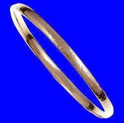Beaten Hammered Textured Narrow Small Unisex Bronze Bangle