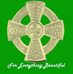 Celtic Cross Circular Large 9K Yellow Gold Brooch
