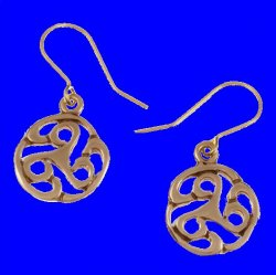 Apahida Celtic Triscele Swirl Knotwork Sheppard Hook Bronze Earrings