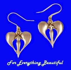 Angel Wings Heart Drop Sheppard Hook Bronze Earrings
