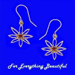 Open Eight Petal Flower Ruby Stone Sheppard Hook Bronze Earrings