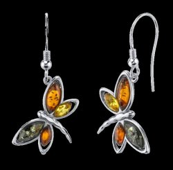 Baltic Amber Four Stone Butterfly Sheppard Hook Sterling Silver Earrings