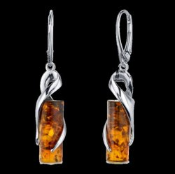 Baltic Amber Elliptical Cylindrical Leverback Sterling Silver Earrings