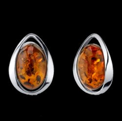 Baltic Amber Chunky Oval Stud Sterling Silver Earrings
