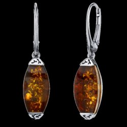 Baltic Amber Gallery Square Marquis Leverback Sterling Silver Earrings