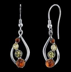 Baltic Amber Four Stone Open Leaf Sheppard Hook Sterling Silver Earrings