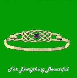 Celtic Knotwork Interlace Purple Amethyst Design 9K Yellow Gold Bangle
