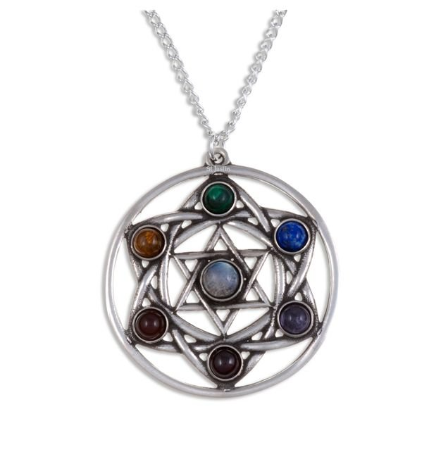Image 1 of Star Chakra Openwork Seven Gemstone Stylish Pewter Pendant