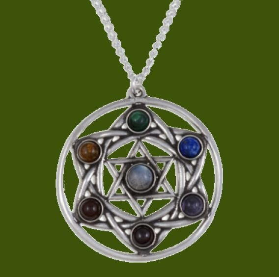 Image 0 of Star Chakra Openwork Seven Gemstone Stylish Pewter Pendant