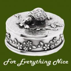 Hedgehog Animal Themed Stylish Pewter Decorative Trinket Box