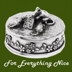 Bee Insect Themed Bronze Pendant And Pewter Decorative Trinket Box