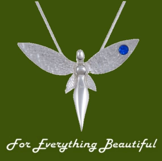 Image 0 of Fairy Figure Hammered Textured Wings Blue Crystal Stylish Pewter Pendant