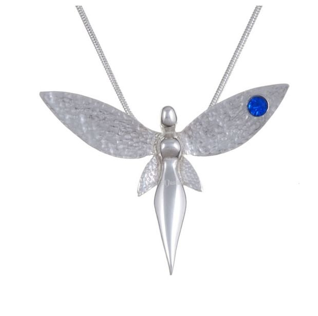 Image 1 of Fairy Figure Hammered Textured Wings Blue Crystal Stylish Pewter Pendant