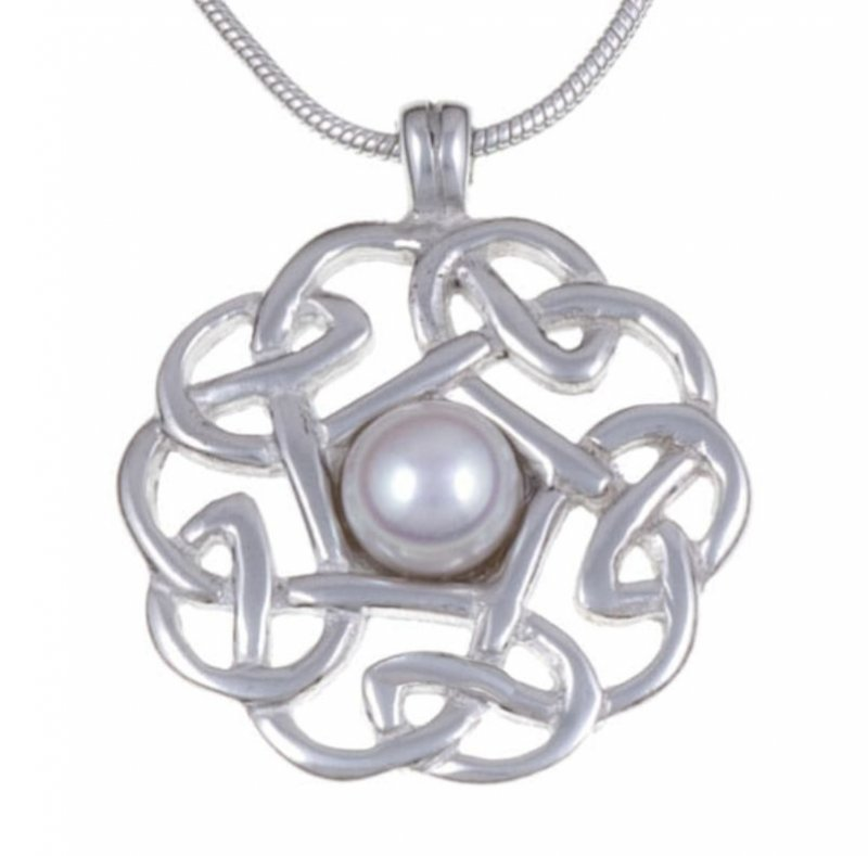 Image 1 of Celtic Knotwork Cultured Freshwater Pearl Stylish Pewter Pendant