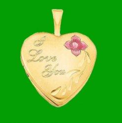 I Love You Enamel Flower Heart 14K Yellow Gold Filled Pendant Locket