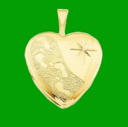 Footprints Star Inscribed Heart 14K Yellow Gold Filled Pendant Locket