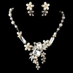Freshwater Pearl Rhinestone Floral Wedding Necklace Earrings Bridal Set
