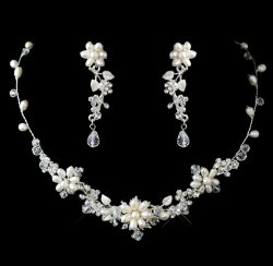 Freshwater Pearl Crystal Bead Floral Wedding Necklace Earrings Bridal Set