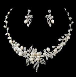 Freshwater Pearl Rhinestone Floral Leaf Wedding Necklace Earrings Bridal Set