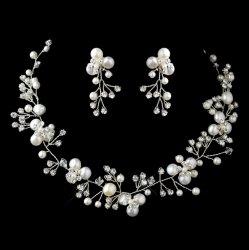 Freshwater Pearl Crystal Bead Vine Wedding Necklace Earrings Bridal Set