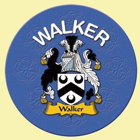 Image 0 of Walker Coat of Arms Cork Round English Family Name Coasters Set of 2