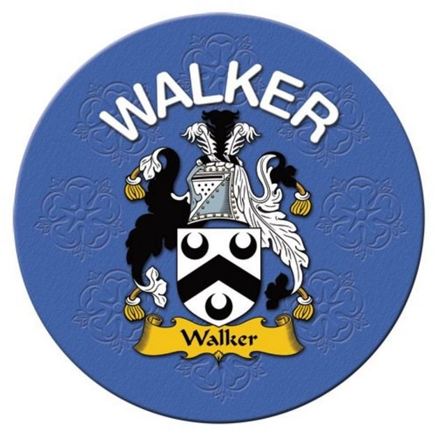 Image 1 of Walker Coat of Arms Cork Round English Family Name Coasters Set of 2