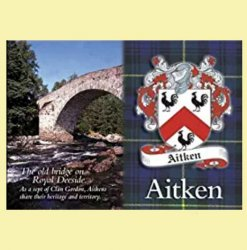 Aitken Coat of Arms Scottish Family Name Fridge Magnets Set of 2