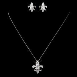 Fleur-De-Lis Cubic Zirconia Sterling Silver Wedding Bridal Necklace Earrings Set
