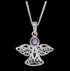 Birthstone Celtic Angel February Stone Sterling Silver Pendant