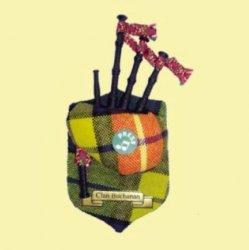 Buchanan Clan Tartan Musical Bagpipe Fridge Magnets Set of 3