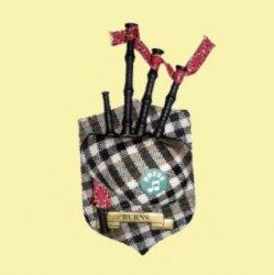 Burns Clan Tartan Musical Bagpipe Fridge Magnets Set of 3