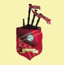 Chisholm Clan Tartan Musical Bagpipe Fridge Magnets Set of 3