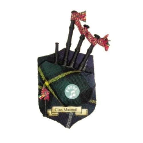 Image 1 of MacNeil Clan Tartan Musical Bagpipe Fridge Magnets Set of 3