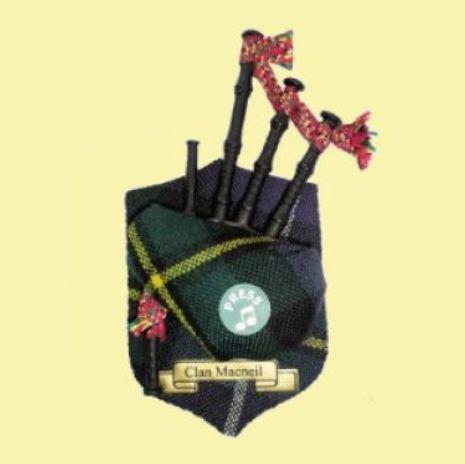 Image 0 of MacNeil Clan Tartan Musical Bagpipe Fridge Magnets Set of 3