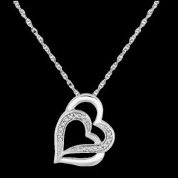 Double Entwined Hearts Diamond Accented Small Sterling Silver Pendant
