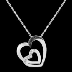 Double Offset Hearts Black Diamond Accented Small Sterling Silver Pendant