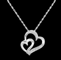 Double Entwined Twisted Hearts Diamond Accented Small Sterling Silver Pendant